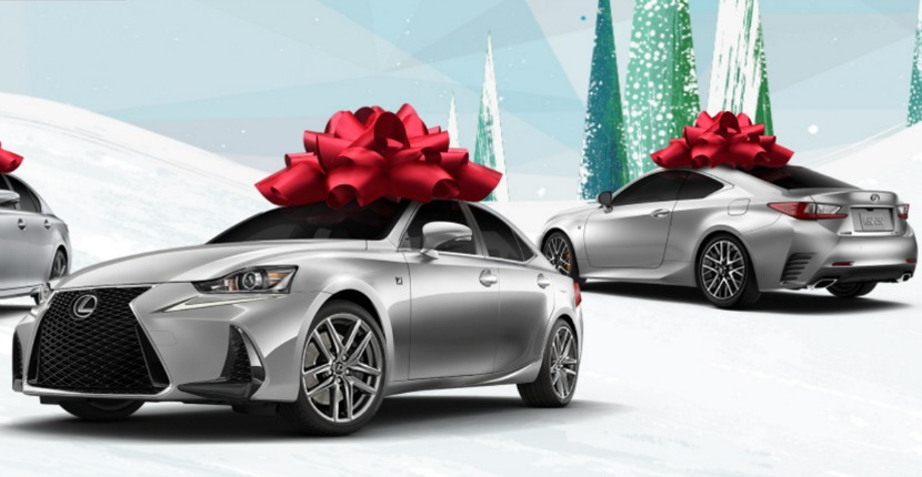Lexus Is Encouraging Consumers To Wish This Holiday Season As In A New Vehicle With Giant Red Bow The Driveway And Puppy